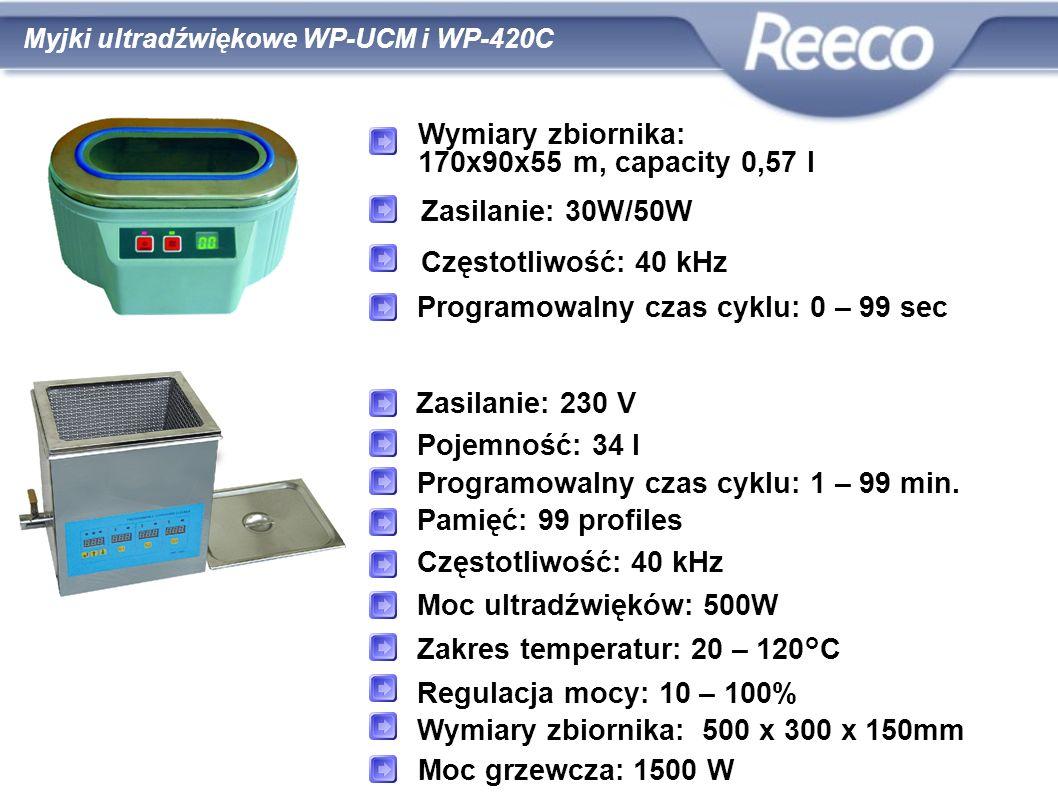 zgodność z CE i RoHS Wymiary zbiornika: 170x90x55 m, capacity 0,57 l Zasilanie: 30W/50W Programowalny czas cyklu: 0 – 99 sec Zasilanie: 230 V Pojemnoś