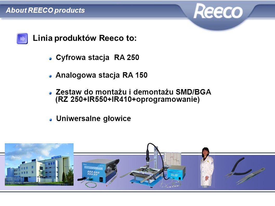 zestaw do regeneracji układów BGA podajnik cyny RE-PSL myjki ultradźwiękowe WP–UCM i WP–420C tygle do cyny – 50B i 100B fartuchy ESD obcinaczki, szczypce, pęsety About REECO products Linia produktów Reeco to: