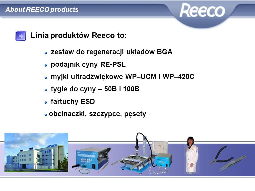 zestaw do regeneracji układów BGA podajnik cyny RE-PSL myjki ultradźwiękowe WP–UCM i WP–420C tygle do cyny – 50B i 100B fartuchy ESD obcinaczki, szczy