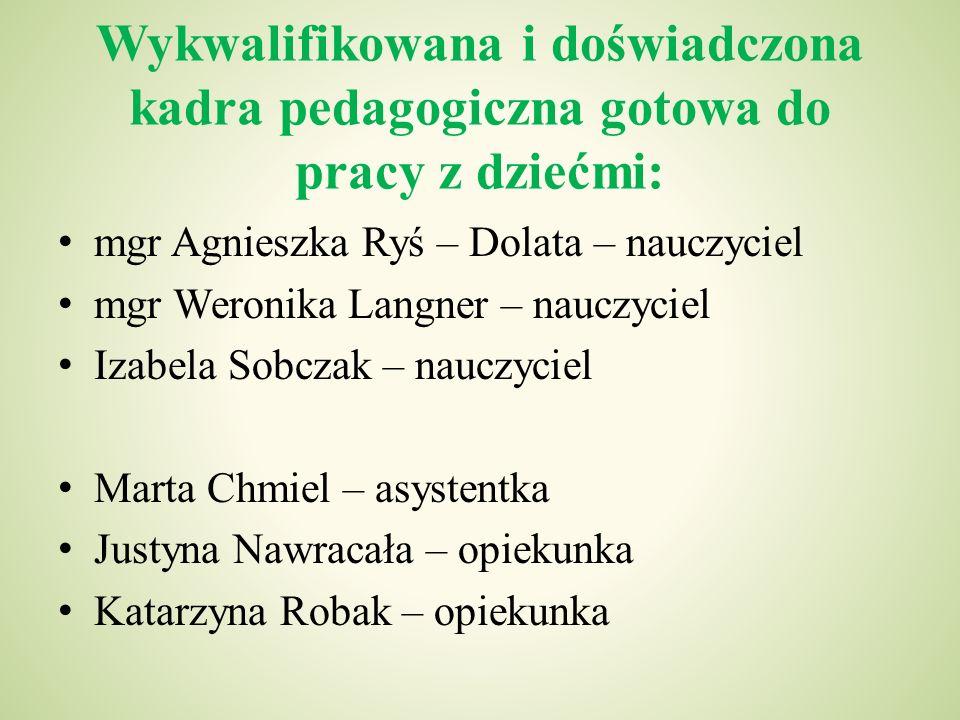 Wykwalifikowana i doświadczona kadra pedagogiczna gotowa do pracy z dziećmi: mgr Agnieszka Ryś – Dolata – nauczyciel mgr Weronika Langner – nauczyciel
