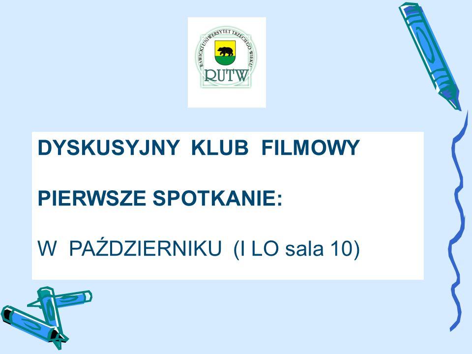 DYSKUSYJNY KLUB FILMOWY PIERWSZE SPOTKANIE: W PAŹDZIERNIKU (I LO sala 10)