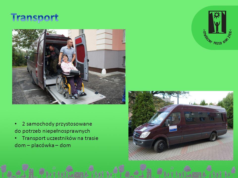 2 samochody przystosowane do potrzeb niepełnosprawnych Transport uczestników na trasie dom – placówka – dom