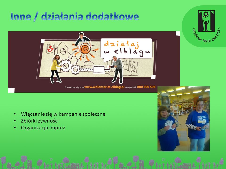 Włączanie się w kampanie społeczne Zbiórki żywności Organizacja imprez