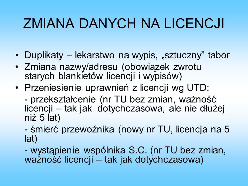 ZMIANA DANYCH NA LICENCJI Duplikaty – lekarstwo na wypis, sztuczny tabor Zmiana nazwy/adresu (obowiązek zwrotu starych blankietów licencji i wypisów)