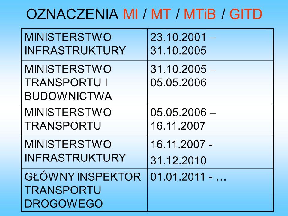 MINISTERSTWO INFRASTRUKTURY 23.10.2001 – 31.10.2005 MINISTERSTWO TRANSPORTU I BUDOWNICTWA 31.10.2005 – 05.05.2006 MINISTERSTWO TRANSPORTU 05.05.2006 –