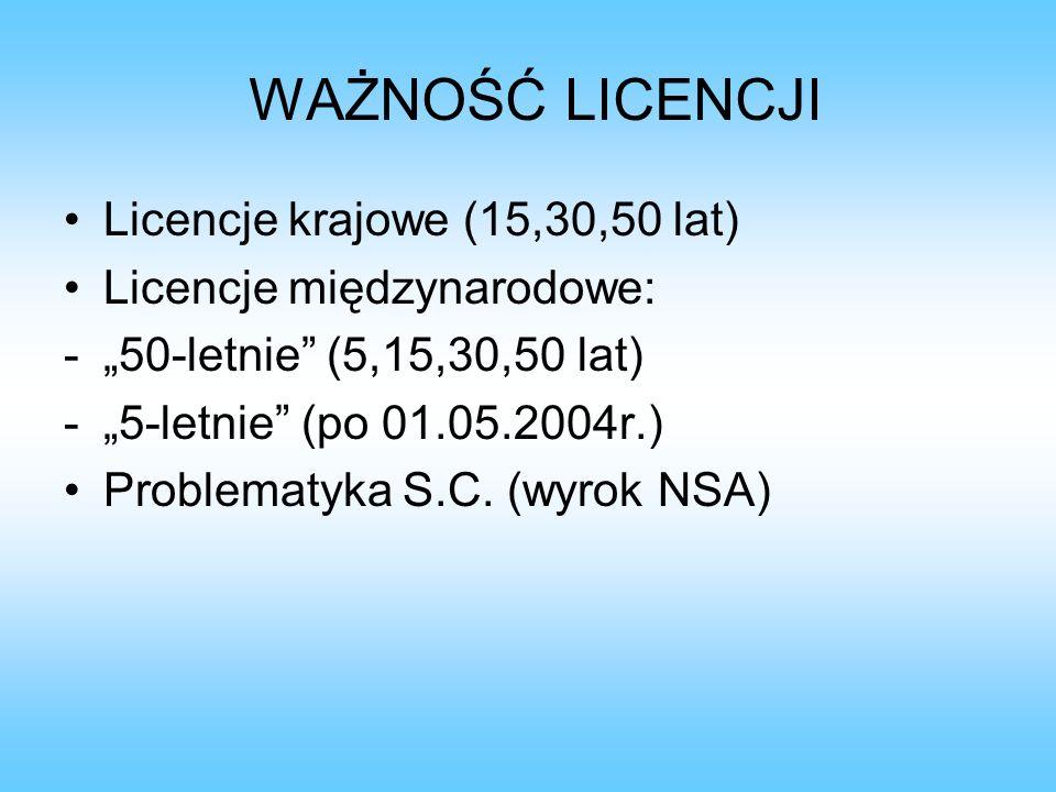 WAŻNOŚĆ LICENCJI Licencje krajowe (15,30,50 lat) Licencje międzynarodowe: -50-letnie (5,15,30,50 lat) -5-letnie (po 01.05.2004r.) Problematyka S.C. (w