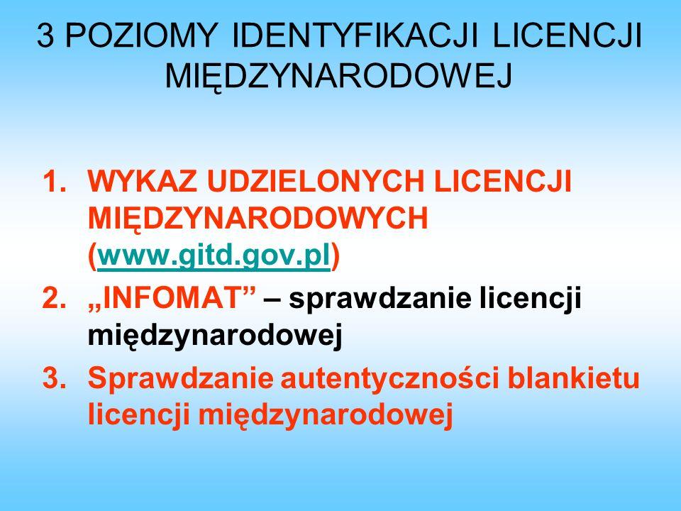 3 POZIOMY IDENTYFIKACJI LICENCJI MIĘDZYNARODOWEJ 1.WYKAZ UDZIELONYCH LICENCJI MIĘDZYNARODOWYCH (www.gitd.gov.pl)www.gitd.gov.pl 2.INFOMAT – sprawdzani