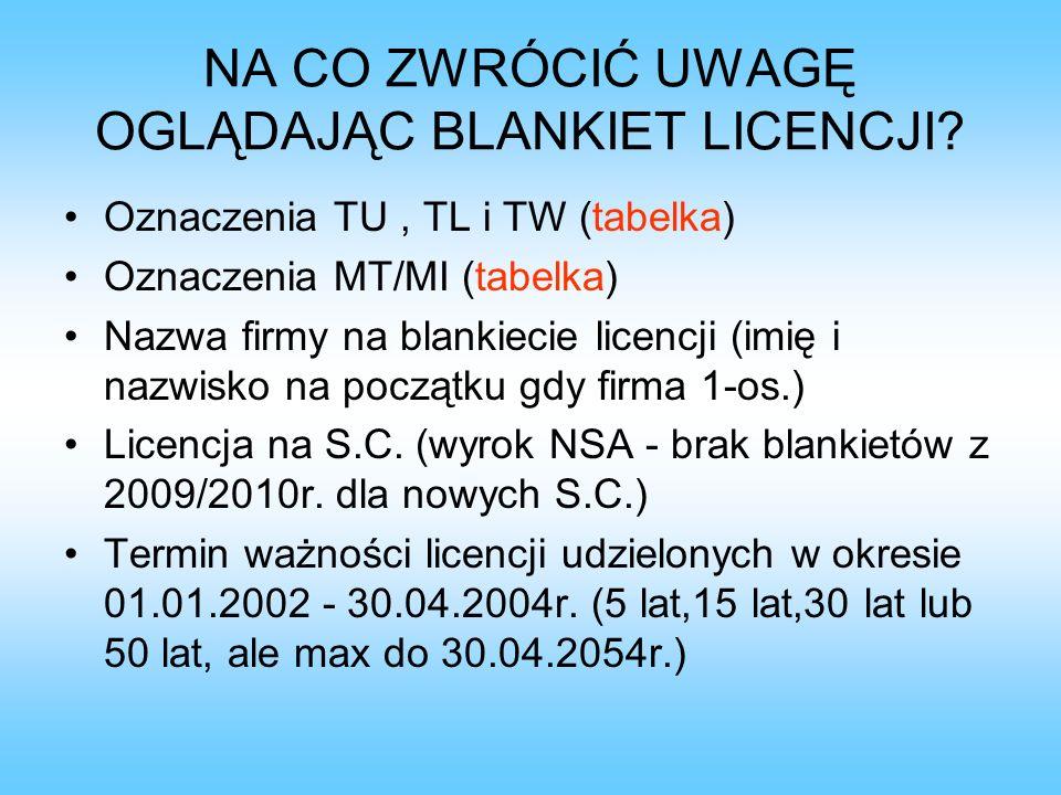 ZMIANA DANYCH NA LICENCJI Duplikaty – lekarstwo na wypis, sztuczny tabor Zmiana nazwy/adresu (obowiązek zwrotu starych blankietów licencji i wypisów) Przeniesienie uprawnień z licencji wg UTD: - przekształcenie (nr TU bez zmian, ważność licencji – tak jak dotychczasowa, ale nie dłużej niż 5 lat) - śmierć przewoźnika (nowy nr TU, licencja na 5 lat) - wystąpienie wspólnika S.C.