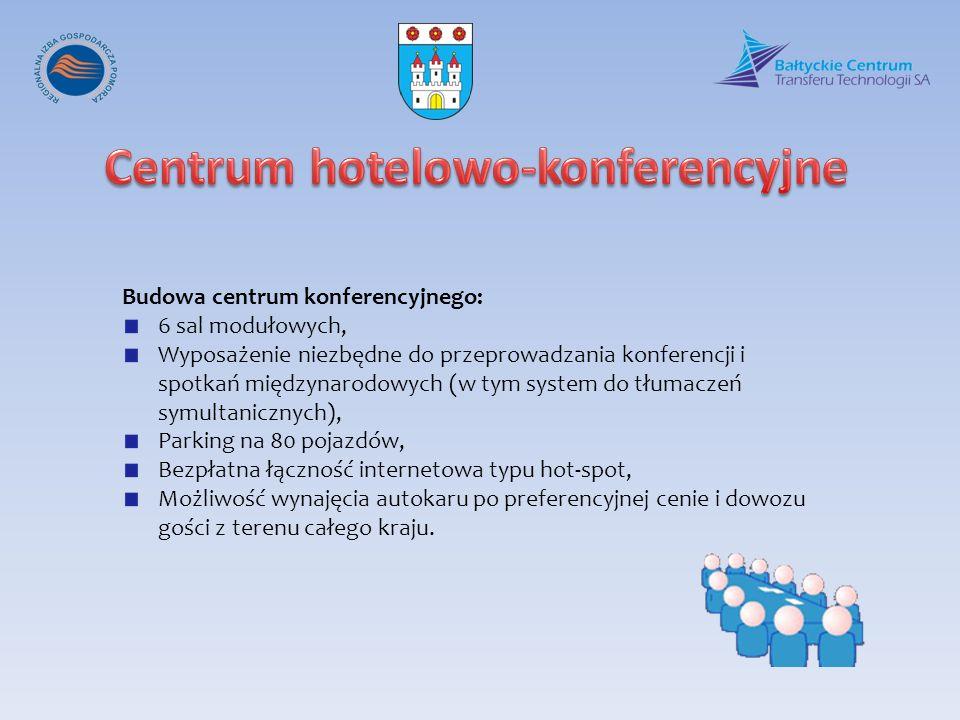 Budowa centrum konferencyjnego: 6 sal modułowych, Wyposażenie niezbędne do przeprowadzania konferencji i spotkań międzynarodowych (w tym system do tłu
