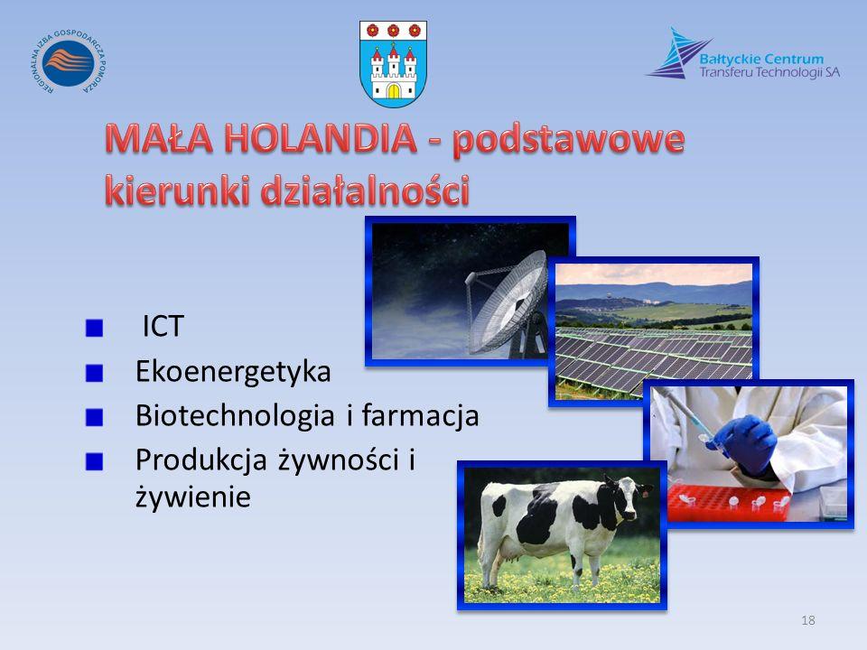 ICT Ekoenergetyka Biotechnologia i farmacja Produkcja żywności i żywienie 18