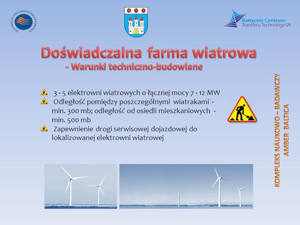 3 - 5 elektrowni wiatrowych o łącznej mocy 7 - 12 MW Odległość pomiędzy poszczególnymi wiatrakami - min. 300 mb; odległość od osiedli mieszkaniowych -