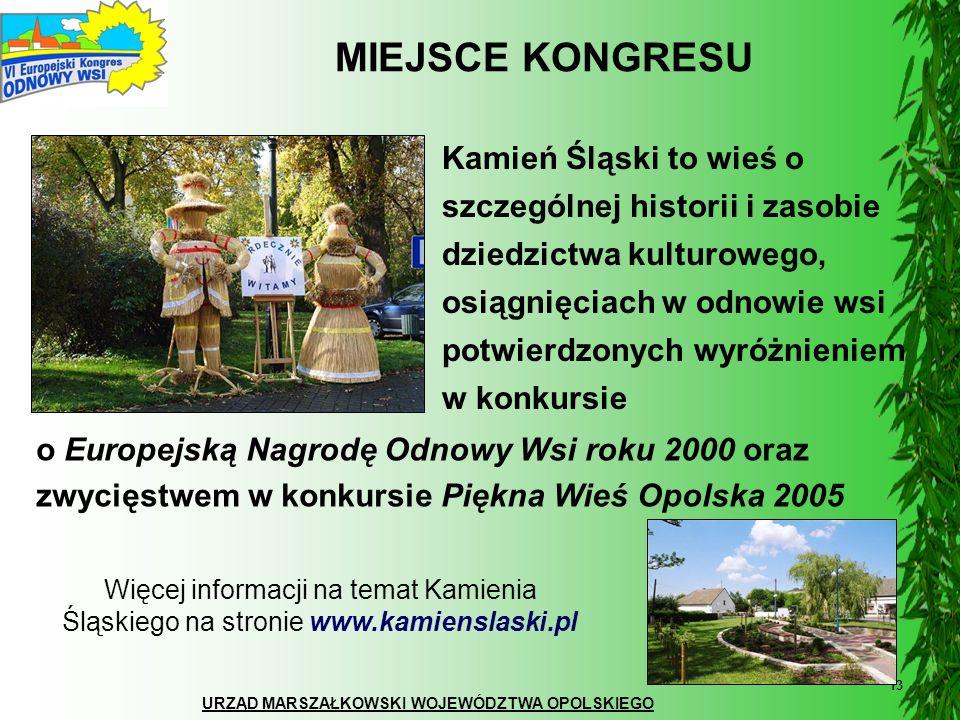 URZĄD MARSZAŁKOWSKI WOJEWÓDZTWA OPOLSKIEGO 13 MIEJSCE KONGRESU Kamień Śląski to wieś o szczególnej historii i zasobie dziedzictwa kulturowego, osiągni
