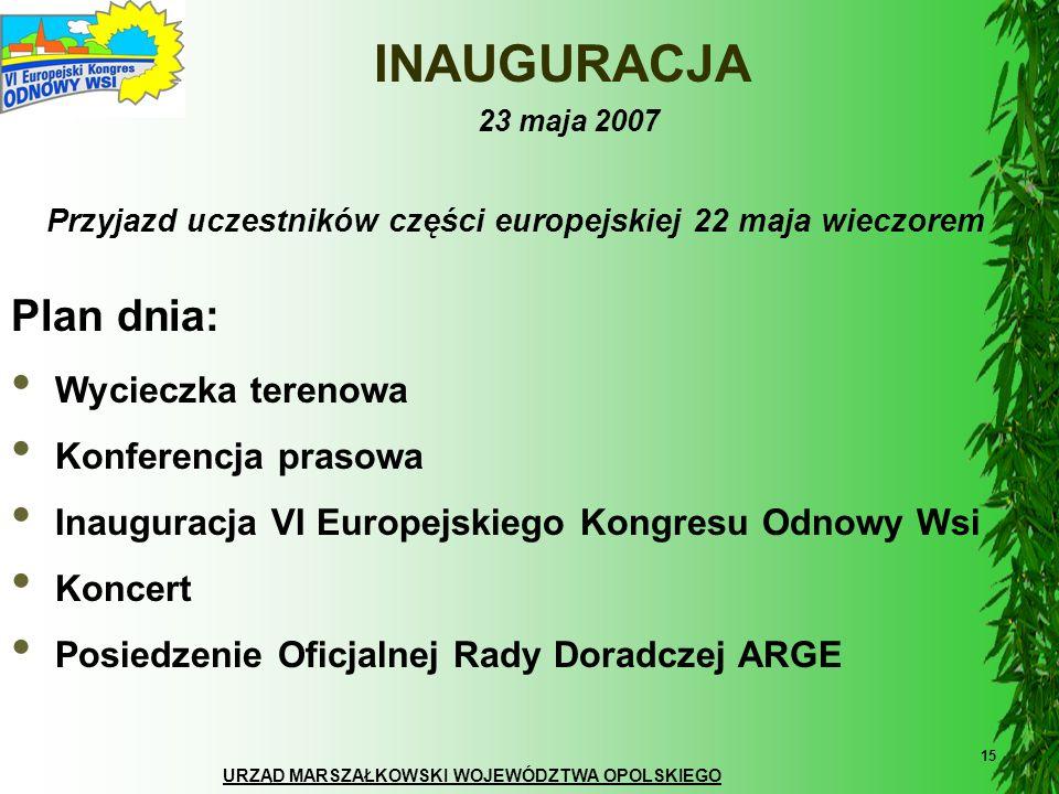 URZĄD MARSZAŁKOWSKI WOJEWÓDZTWA OPOLSKIEGO 15 INAUGURACJA 23 maja 2007 Wycieczka terenowa Konferencja prasowa Inauguracja VI Europejskiego Kongresu Od