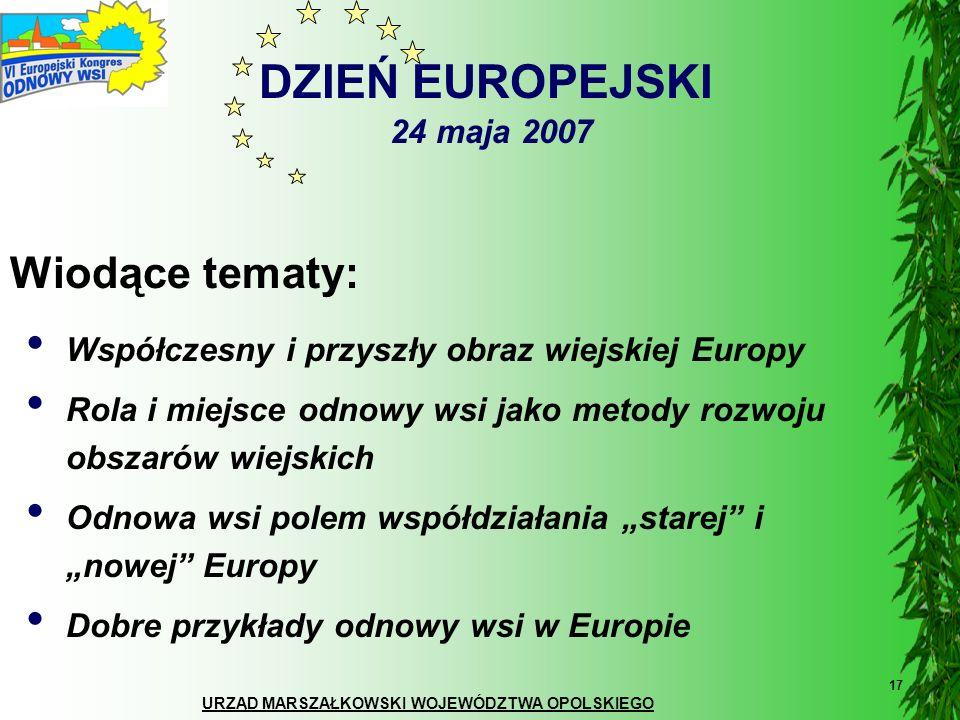 URZĄD MARSZAŁKOWSKI WOJEWÓDZTWA OPOLSKIEGO 17 DZIEŃ EUROPEJSKI 24 maja 2007 Wiodące tematy: Współczesny i przyszły obraz wiejskiej Europy Rola i miejs