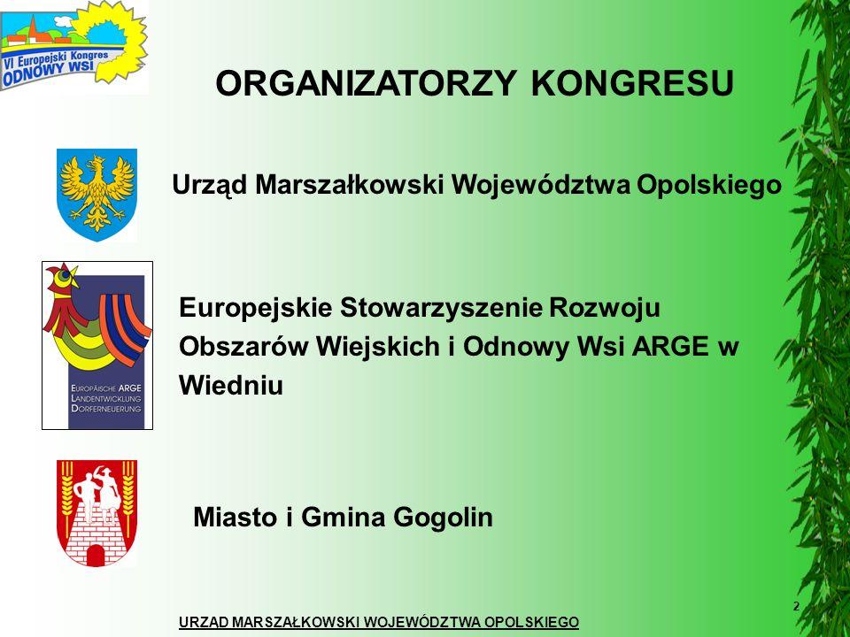 URZĄD MARSZAŁKOWSKI WOJEWÓDZTWA OPOLSKIEGO 2 ORGANIZATORZY KONGRESU Urząd Marszałkowski Województwa Opolskiego Miasto i Gmina Gogolin Europejskie Stow