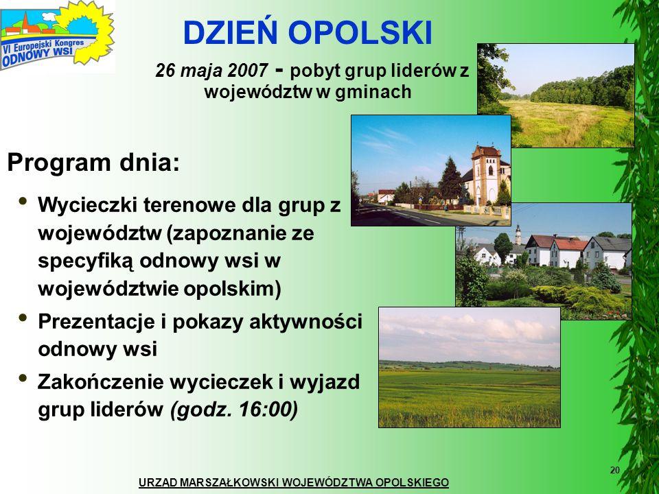 URZĄD MARSZAŁKOWSKI WOJEWÓDZTWA OPOLSKIEGO 20 Wycieczki terenowe dla grup z województw (zapoznanie ze specyfiką odnowy wsi w województwie opolskim) Pr