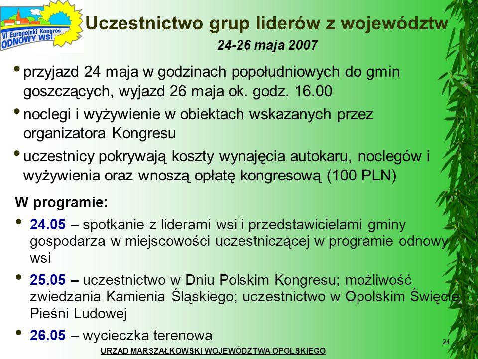 URZĄD MARSZAŁKOWSKI WOJEWÓDZTWA OPOLSKIEGO 24 Uczestnictwo grup liderów z województw 24-26 maja 2007 przyjazd 24 maja w godzinach popołudniowych do gm