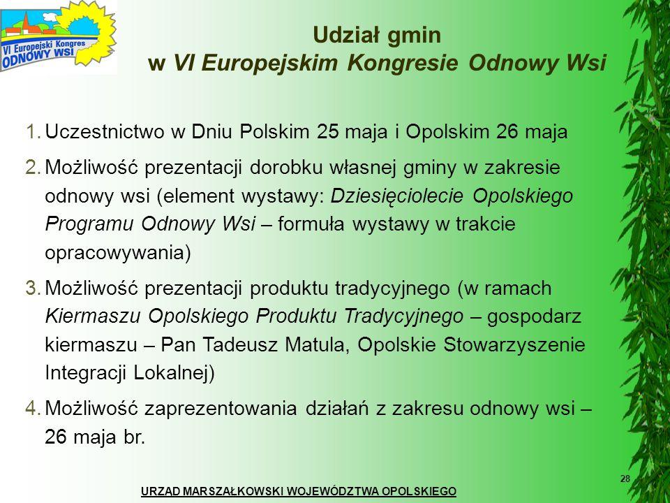 URZĄD MARSZAŁKOWSKI WOJEWÓDZTWA OPOLSKIEGO 28 Udział gmin w VI Europejskim Kongresie Odnowy Wsi 1.Uczestnictwo w Dniu Polskim 25 maja i Opolskim 26 ma