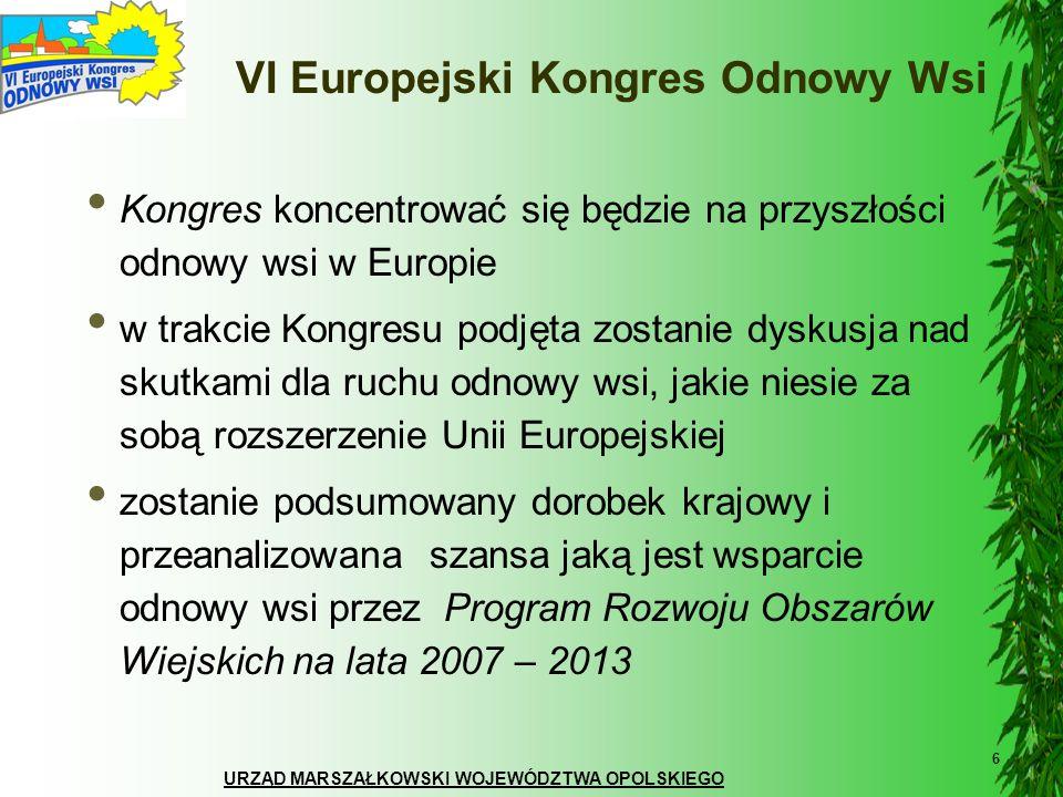 URZĄD MARSZAŁKOWSKI WOJEWÓDZTWA OPOLSKIEGO 6 VI Europejski Kongres Odnowy Wsi Kongres koncentrować się będzie na przyszłości odnowy wsi w Europie w tr