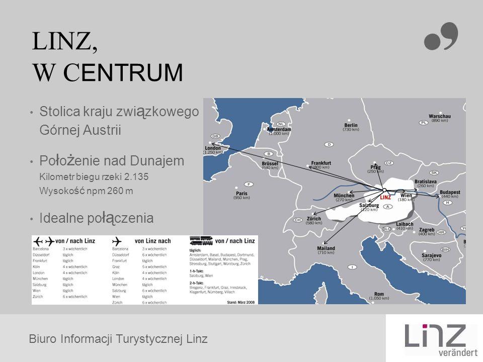 Biuro Informacji Turystycznej Linz LINZ, W C ENTRUM Stolica kraju zwi ą zkowego Górnej Austrii Po ł o ż enie nad Dunajem Kilometr biegu rzeki 2.135 Wysoko ść npm 260 m Idealne po łą czenia