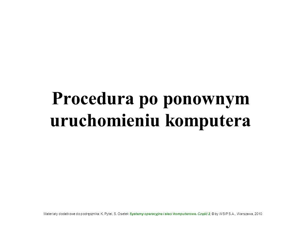 Procedura po ponownym uruchomieniu komputera Materiały dodatkowe do podręcznika: K. Pytel, S. Osetek Systemy operacyjne i sieci komputerowe. Część 2,