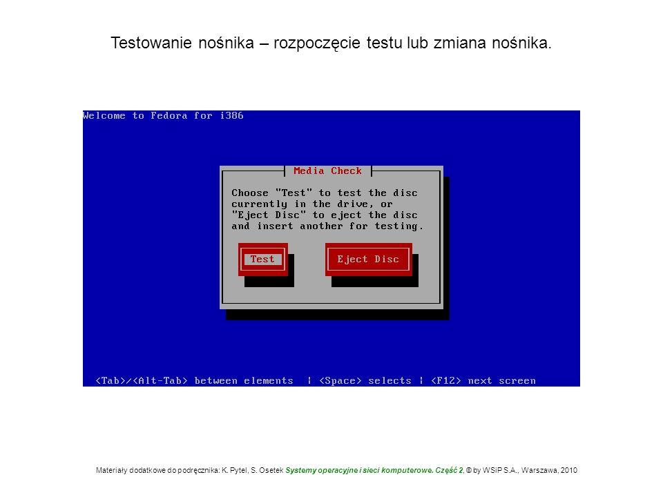 Testowanie nośnika – rozpoczęcie testu lub zmiana nośnika. Materiały dodatkowe do podręcznika: K. Pytel, S. Osetek Systemy operacyjne i sieci komputer