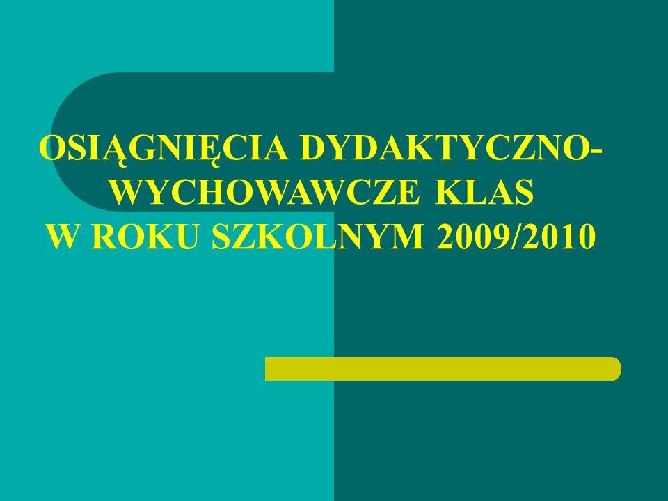 OSIĄGNIĘCIA DYDAKTYCZNO- WYCHOWAWCZE KLAS W ROKU SZKOLNYM 2009/2010
