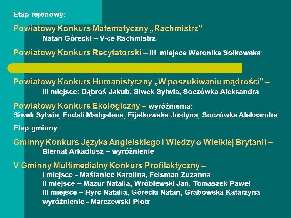 Etap rejonowy: Powiatowy Konkurs Matematyczny Rachmistrz Natan Górecki – V-ce Rachmistrz Powiatowy Konkurs Recytatorski – III miejsce Weronika Sołkows