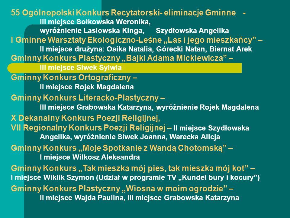 55 Ogólnopolski Konkurs Recytatorski- eliminacje Gminne- III miejsce Sołkowska Weronika, wyróżnienie Lasiowska Kinga, Szydłowska Angelika I Gminne War