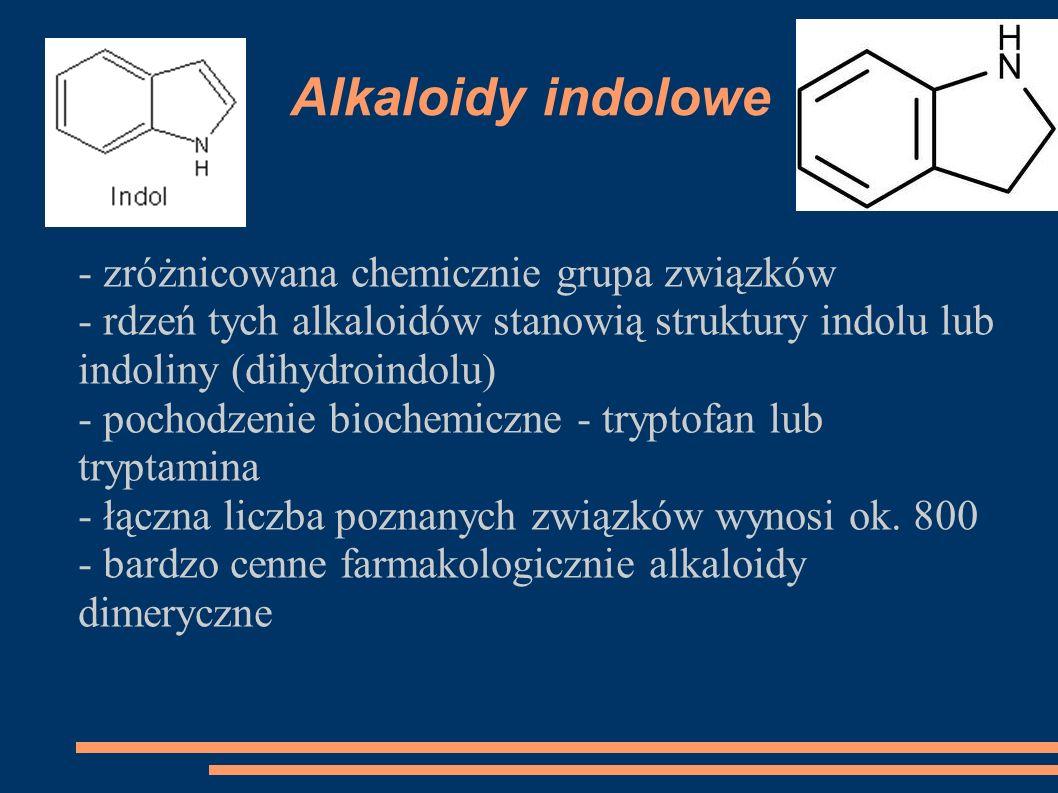 Alkaloidy indolowe - zróżnicowana chemicznie grupa związków - rdzeń tych alkaloidów stanowią struktury indolu lub indoliny (dihydroindolu) - pochodzen