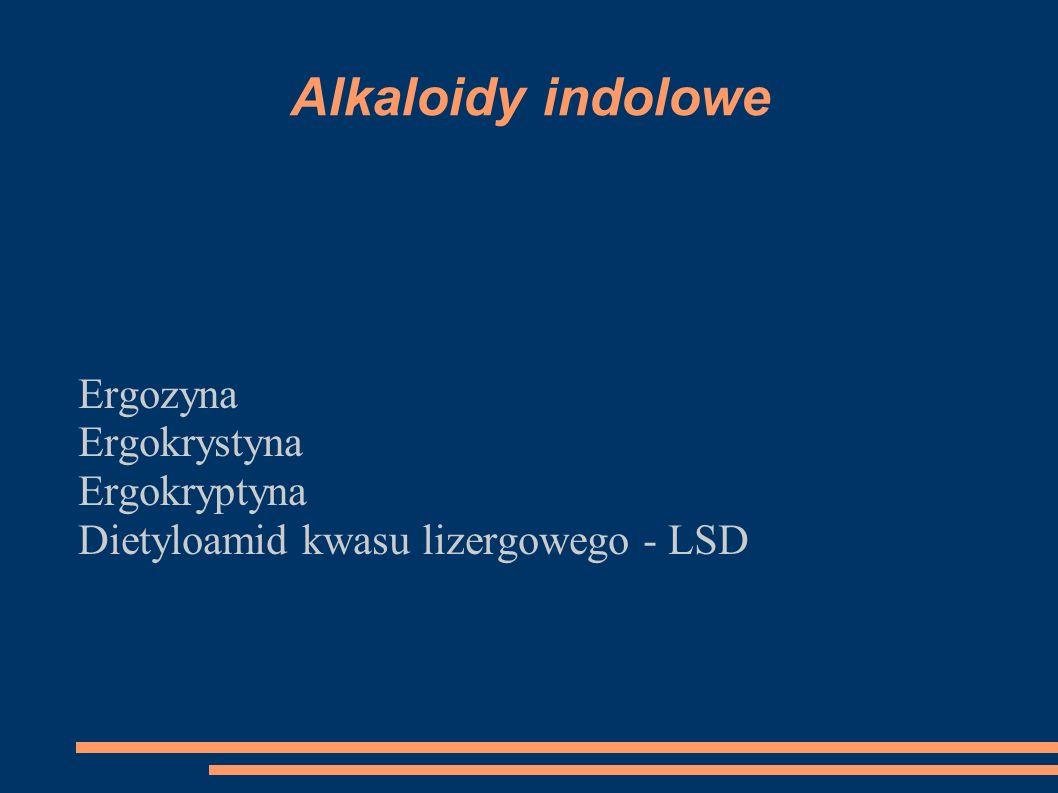 Alkaloidy indolowe Ergozyna Ergokrystyna Ergokryptyna Dietyloamid kwasu lizergowego - LSD