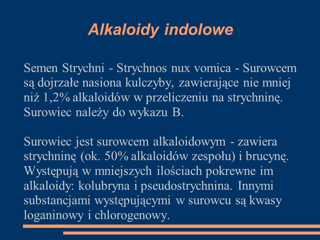 Semen Strychni - Strychnos nux vomica - Surowcem są dojrzałe nasiona kulczyby, zawierające nie mniej niż 1,2% alkaloidów w przeliczeniu na strychninę.