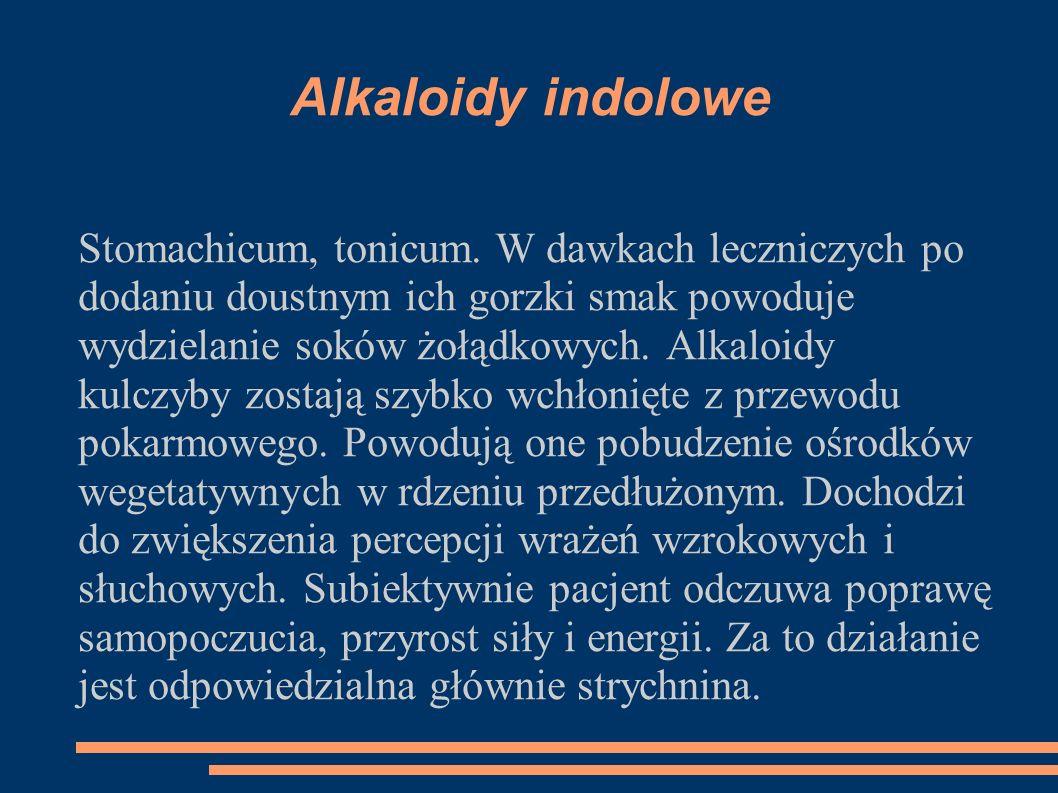 Alkaloidy indolowe Stomachicum, tonicum. W dawkach leczniczych po dodaniu doustnym ich gorzki smak powoduje wydzielanie soków żołądkowych. Alkaloidy k