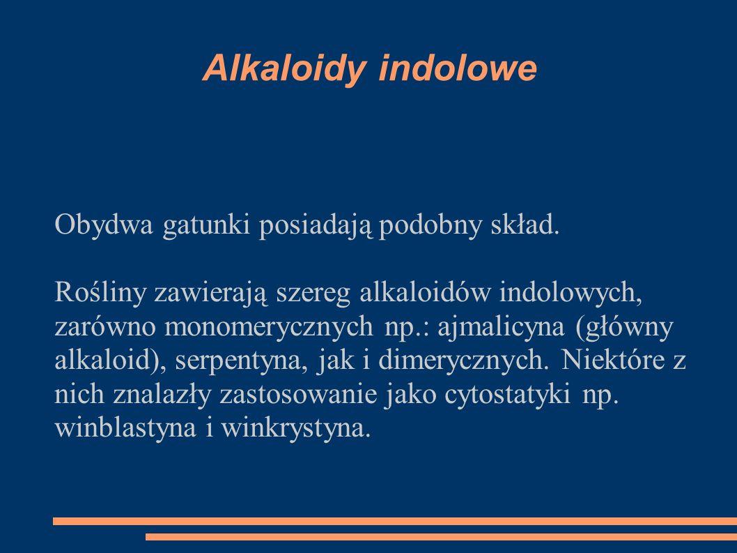 Alkaloidy indolowe Obydwa gatunki posiadają podobny skład. Rośliny zawierają szereg alkaloidów indolowych, zarówno monomerycznych np.: ajmalicyna (głó