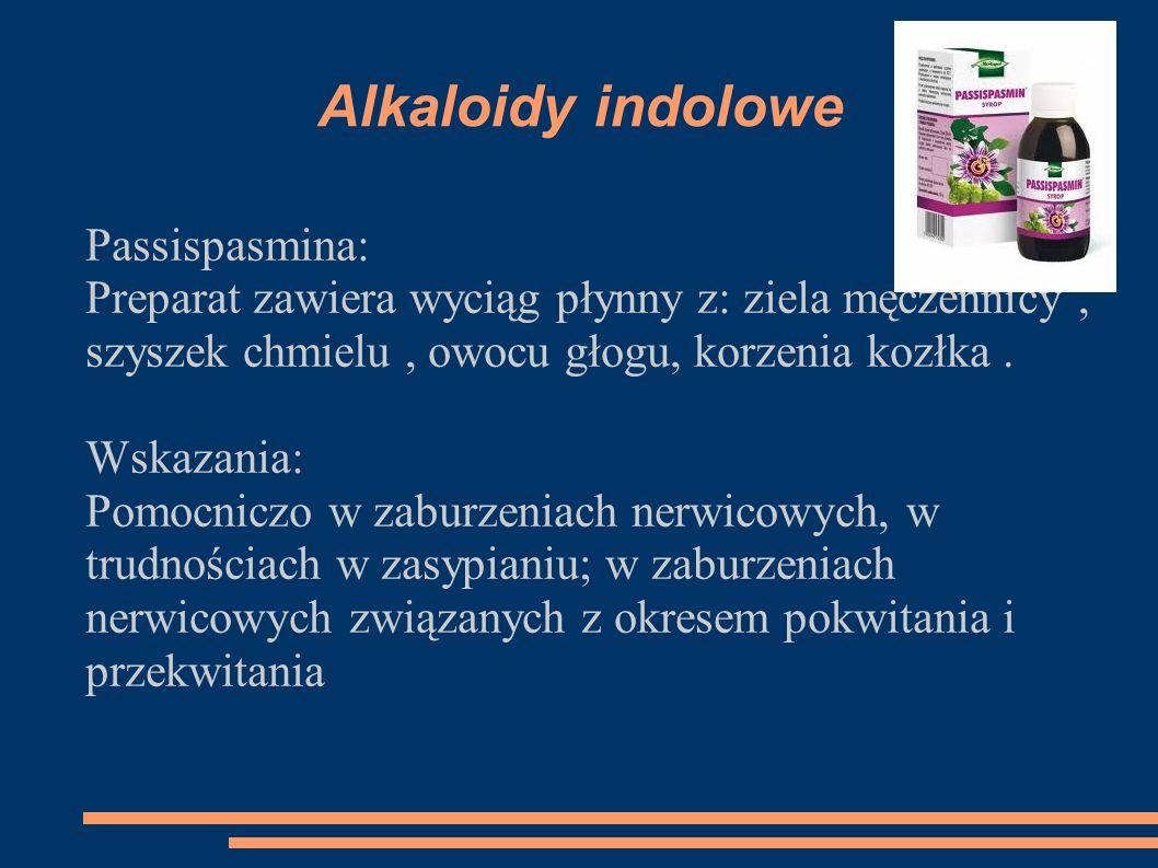 Alkaloidy indolowe Passispasmina: Preparat zawiera wyciąg płynny z: ziela męczennicy, szyszek chmielu, owocu głogu, korzenia kozłka. Wskazania: Pomocn