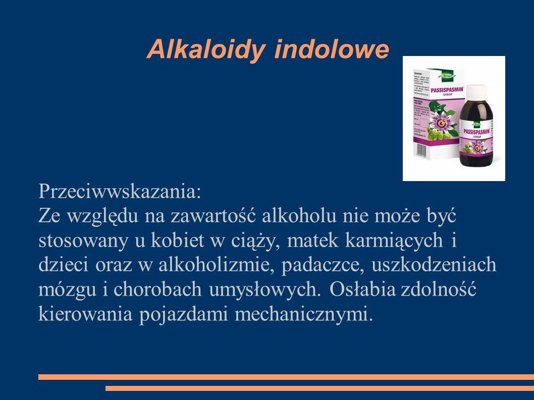 Alkaloidy indolowe Przeciwwskazania: Ze względu na zawartość alkoholu nie może być stosowany u kobiet w ciąży, matek karmiących i dzieci oraz w alkoho