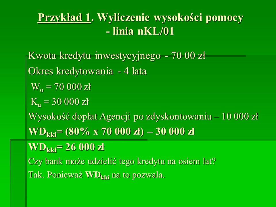 Przykład 1. Wyliczenie wysokości pomocy - linia nKL/01 Kwota kredytu inwestycyjnego - 70 00 zł Okres kredytowania - 4 lata W o = 70 000 zł W o = 70 00