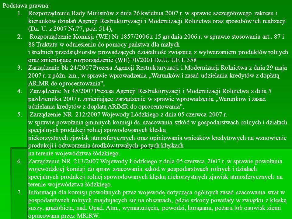 Podstawa prawna: 1.Rozporządzenie Rady Ministrów z dnia 26 kwietnia 2007 r. w sprawie szczegółowego zakresu i kierunków działań Agencji Restrukturyzac