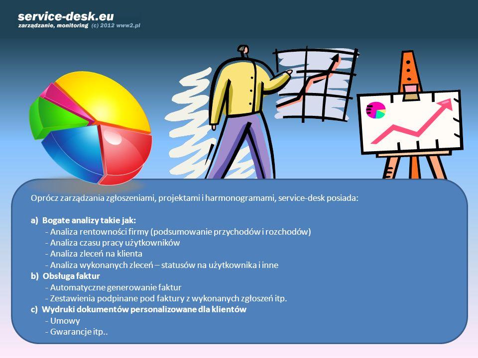 Oprócz zarządzania zgłoszeniami, projektami i harmonogramami, service-desk posiada: a) Bogate analizy takie jak: - Analiza rentowności firmy (podsumow