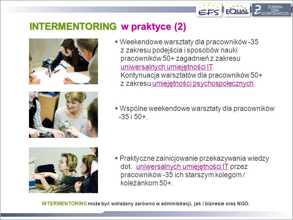 INTERMENTORING może być wdrażany zarówno w administracji, jak i biznesie oraz NGO. INTERMENTORING w praktyce (2) Weekendowe warsztaty dla pracowników