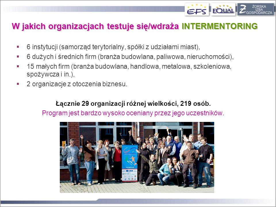 W jakich organizacjach testuje się/wdraża INTERMENTORING 6 instytucji (samorząd terytorialny, spółki z udziałami miast), 6 dużych i średnich firm (bra