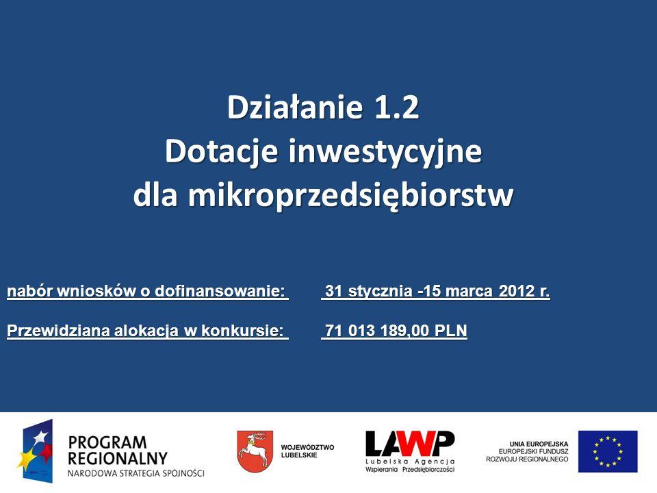 Działanie 1.2 Dotacje inwestycyjne dla mikroprzedsiębiorstw nabór wniosków o dofinansowanie: 31 stycznia -15 marca 2012 r. Przewidziana alokacja w kon