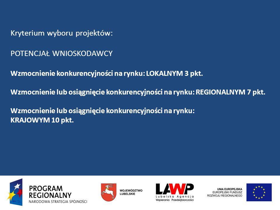 Kryterium wyboru projektów: POTENCJAŁ WNIOSKODAWCY Wzmocnienie konkurencyjności na rynku: LOKALNYM 3 pkt. Wzmocnienie lub osiągnięcie konkurencyjności