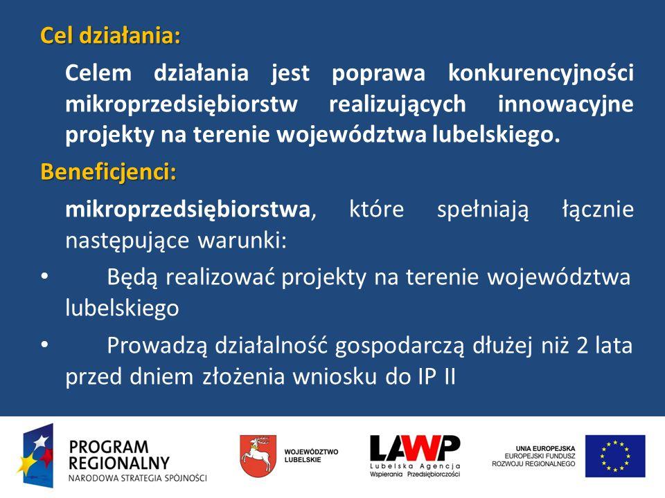 Cel działania: Celem działania jest poprawa konkurencyjności mikroprzedsiębiorstw realizujących innowacyjne projekty na terenie województwa lubelskieg
