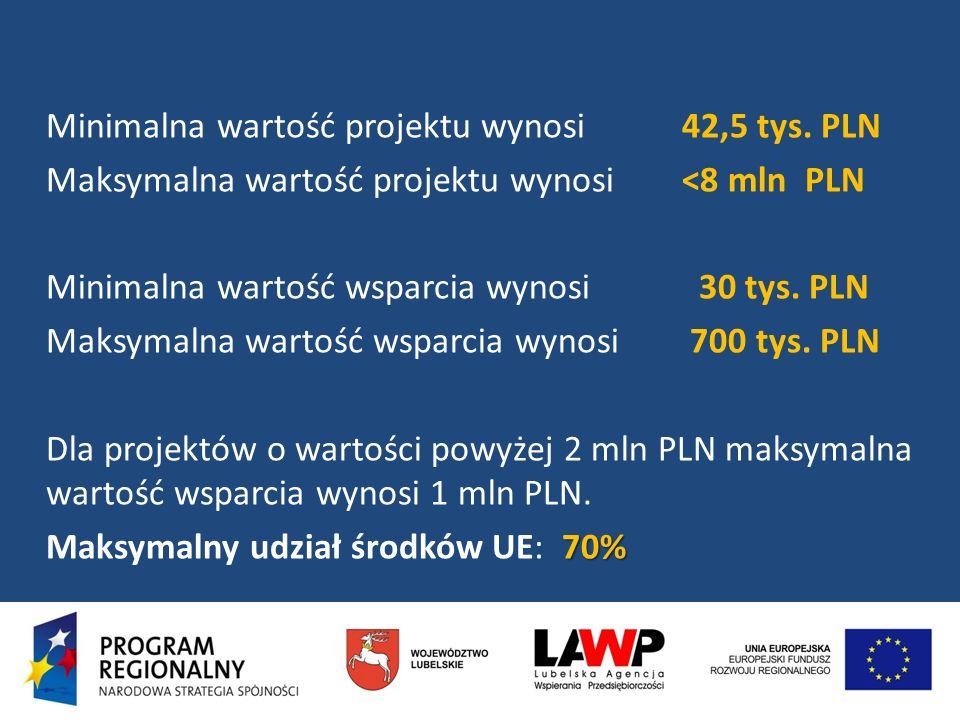 Minimalna wartość projektu wynosi 42,5 tys. PLN Maksymalna wartość projektu wynosi <8 mln PLN Minimalna wartość wsparcia wynosi 30 tys. PLN Maksymalna