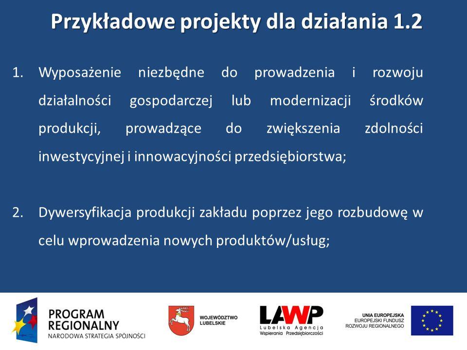 Przykładowe projekty dla działania 1.2 Przykładowe projekty dla działania 1.2 1.Wyposażenie niezbędne do prowadzenia i rozwoju działalności gospodarcz