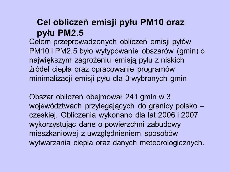 Schemat obliczeń emisji pyłów PM10 i PM2.5 DANE O POWIERZCHNI MIESZKAŃ Z PODZIAŁEM NA RODZAJE ŹRÓDEŁ CIEPŁA, TYPY PALIWA, JEDNOSTKOWE ZAPOTRZEBOWANIE CIEPŁA ZAPOTRZEBOWANIE NA CIEPŁO ZUŻYCIE PALIW Dane METEO EMISJE ROCZNE PM10 i PM2.5 [kg/r] WSKAŹNIKI NARAŻENIA NA EMISJĘ PYŁU [kg/M], [g/m2] WSKAŹNIKI EMISJI DLA PM10 i PM2.5 SPRAWNOŚĆ CIEPLNA ŹRÓDEŁ Dane o powierzchni zabudowy i liczbie mieszkańców