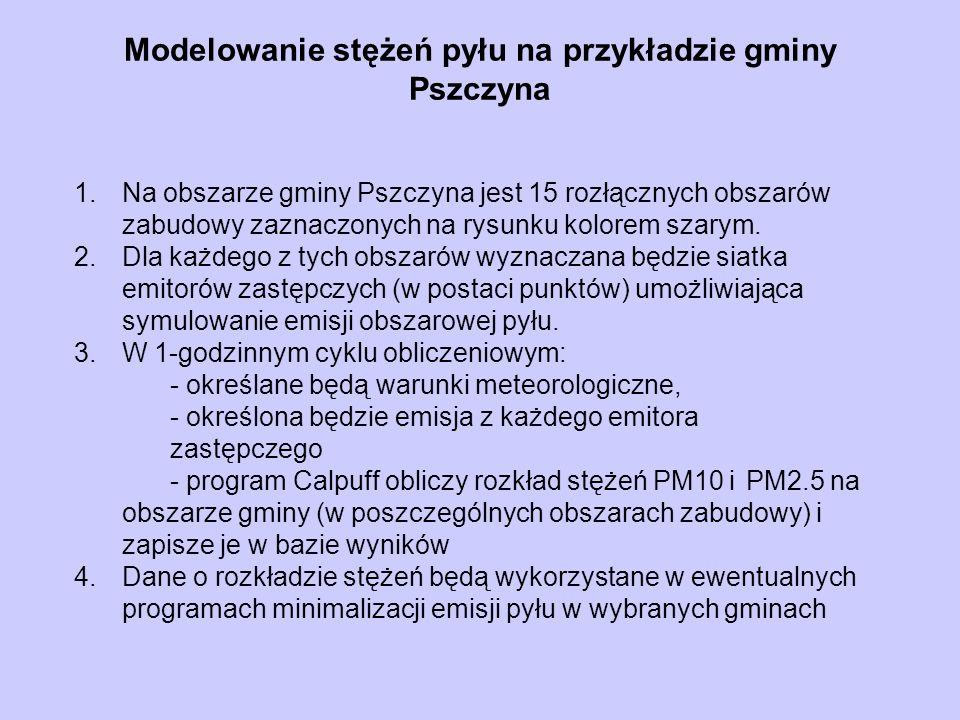 Modelowanie stężeń pyłu na przykładzie gminy Pszczyna 1.Na obszarze gminy Pszczyna jest 15 rozłącznych obszarów zabudowy zaznaczonych na rysunku kolor
