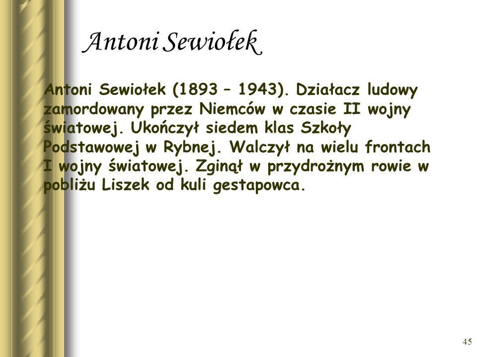 44 Prof. Stanisław Rospond Prof. Stanisław Rospond, urodzony w Liszkach 19 grudnia 1906r zmarł 16 października 1982r. Studiował polonistykę i slawisty
