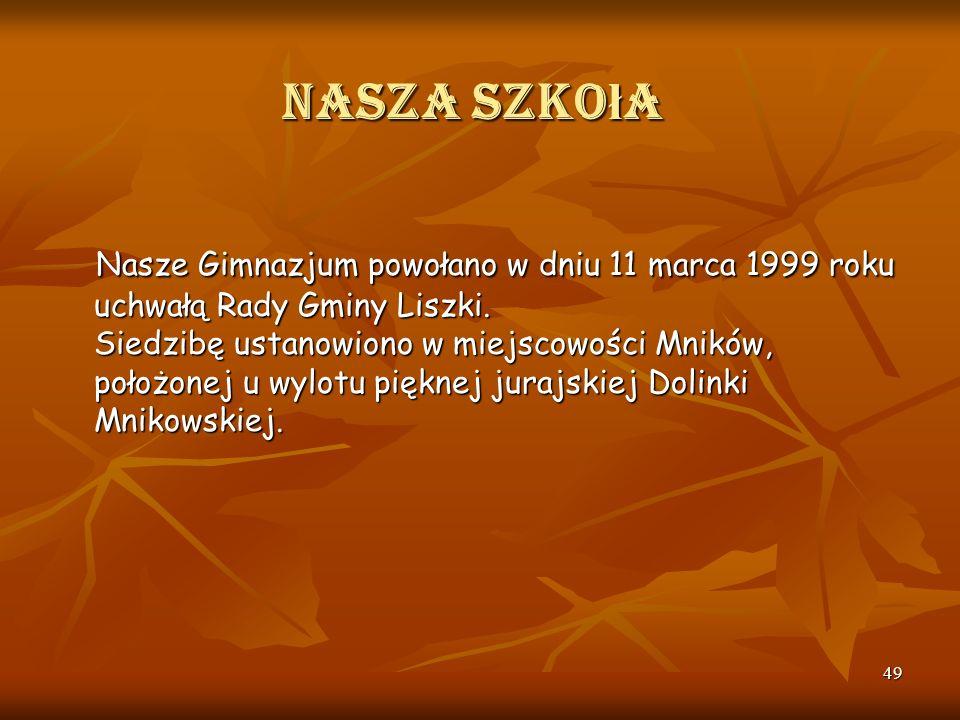 48 Nasza szko ł a Gimnazjum im. Księcia Józefa Poniatowskiego w Mnikowie